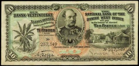 Danish West Indies 10 francs